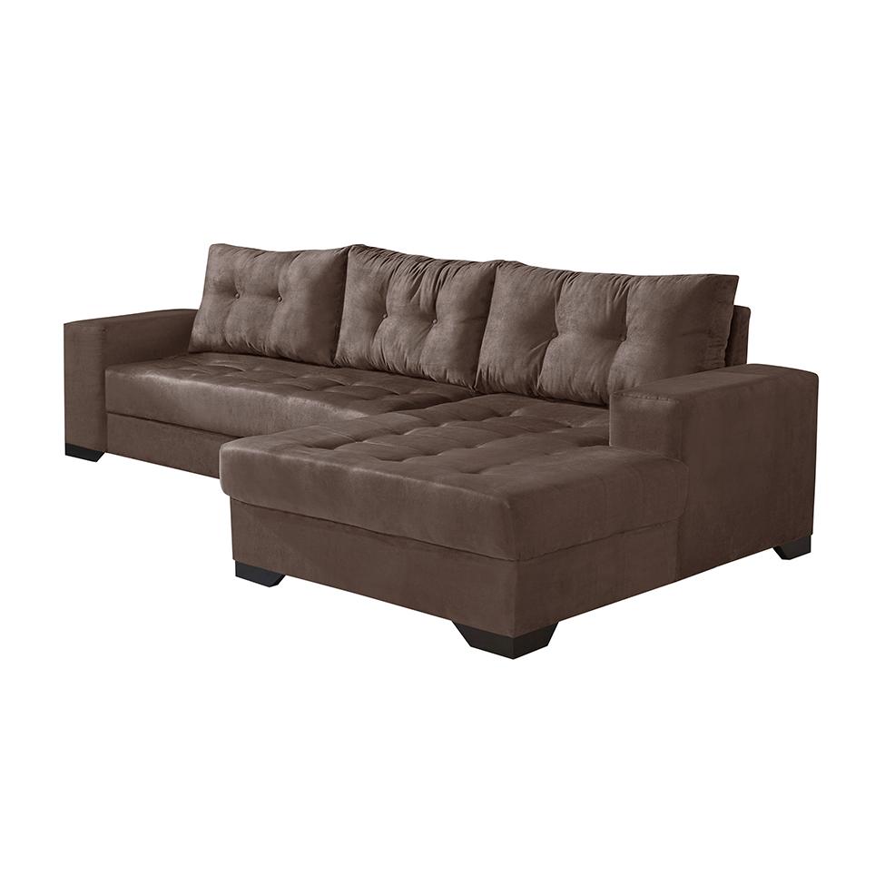 Conjunto de sof de canto 5 lugares com chaise bia suede for Sofa 5 lugares com chaise